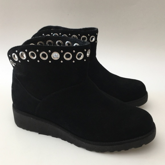 da03815cacc UGG Riley Grommet Suede Sherpa Ankle Boots